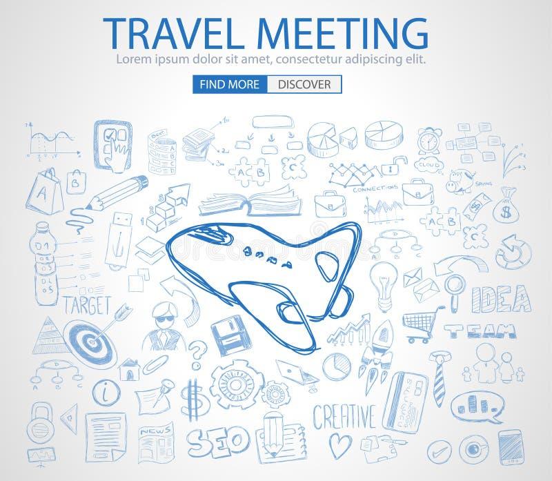 Podróż dla Biznesowego pojęcia z Doodle projekta stylem ilustracji