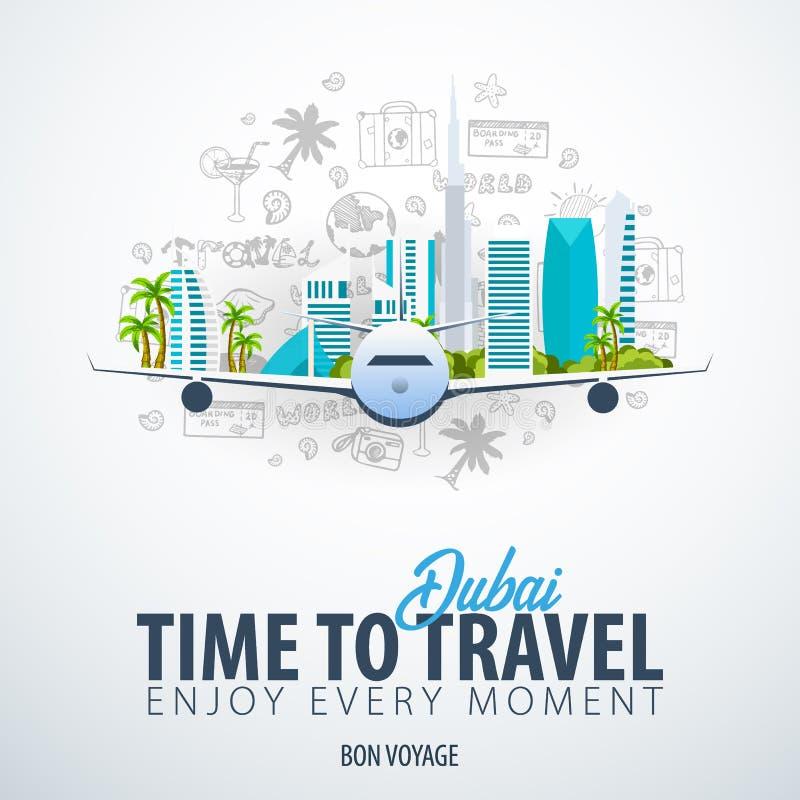 Podróż Dubaj, UAE czas podróży Sztandar z samolotem i remisem doodles na tle również zwrócić corel ilustracji wektora ilustracji