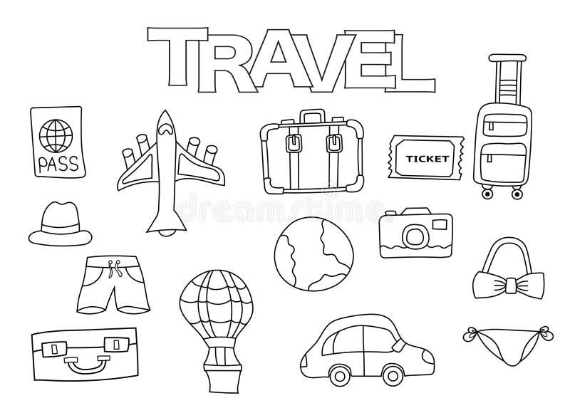 Podróż elementów ręka rysujący set Kolorystyki książki szablon Konturu Doodle ilustracji