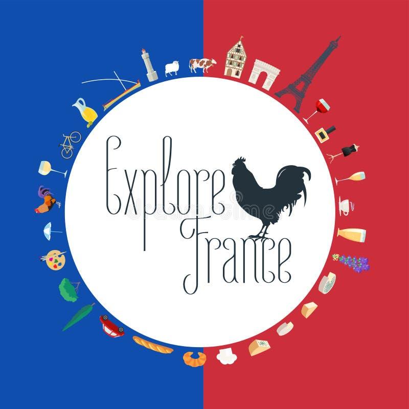 Podróż Francja pojęcia ilustracja w kolorach francuz flaga ilustracji