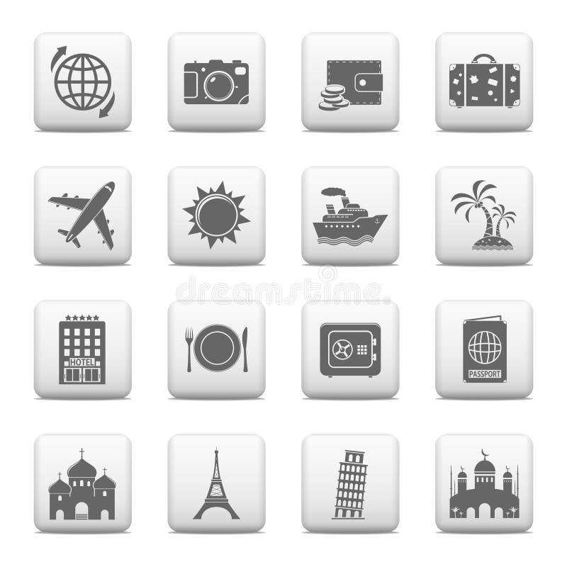Podróż i punkt zwrotny ikony royalty ilustracja