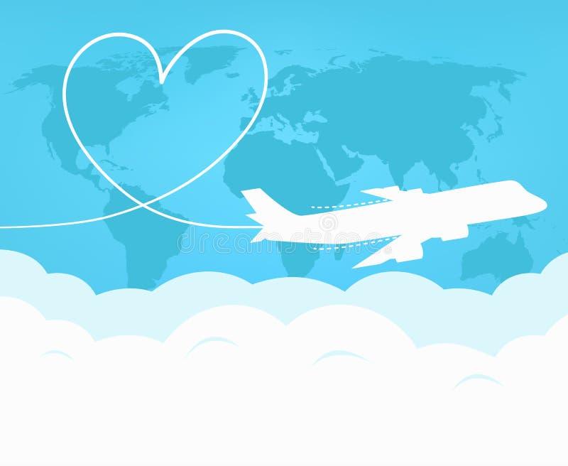 Podróż i turystyka samolotem dookoła świata royalty ilustracja