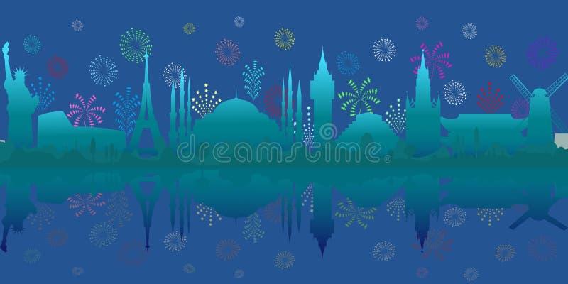 Podróż i turystyka Wektorowy tło z Światowymi Architektonicznymi widokami i fajerwerkami royalty ilustracja