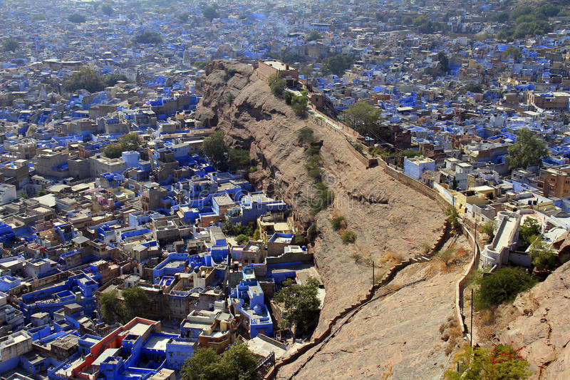 Podróż India: Ogólny widok jodhpuri błękita domy od fortu obraz royalty free