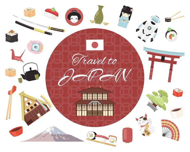 Podróż Japonia sztandaru wektoru ilustracja Japoński styl protestuje, akcesoria, miejsca interesów Tradycyjni symbole royalty ilustracja