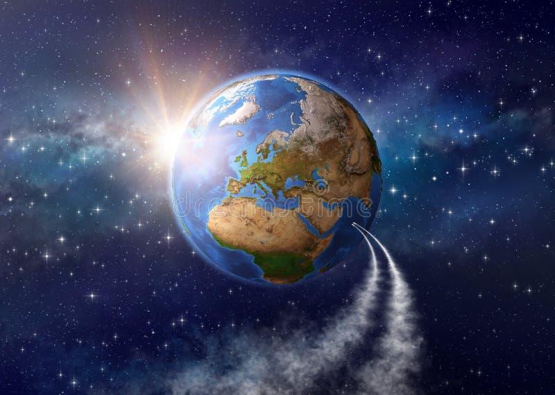 Podróż kosmiczna - oddawanie ziemia royalty ilustracja
