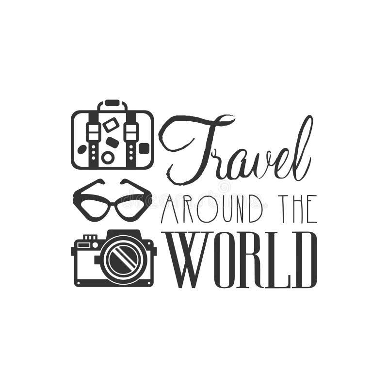 Podróż logo z podróżników akcesoriami dookoła świata royalty ilustracja
