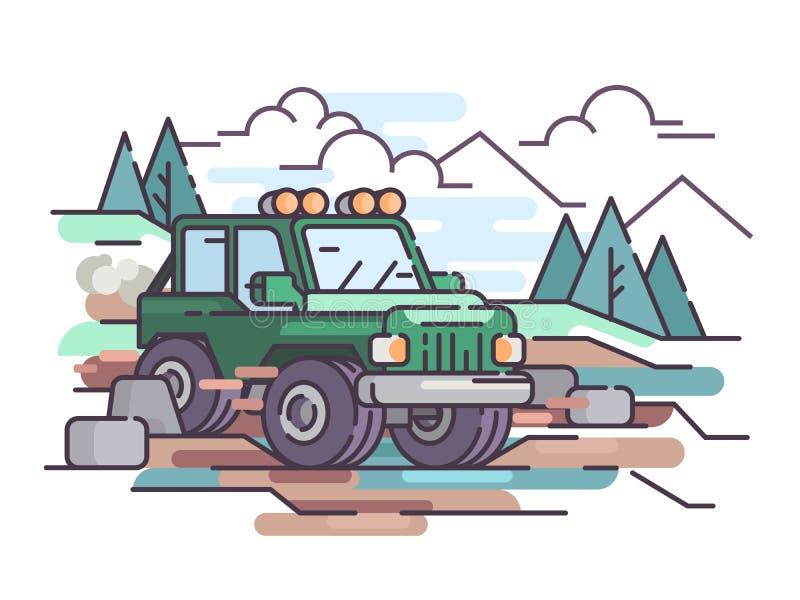 Podróż na dżip drogi pojazdzie ilustracji