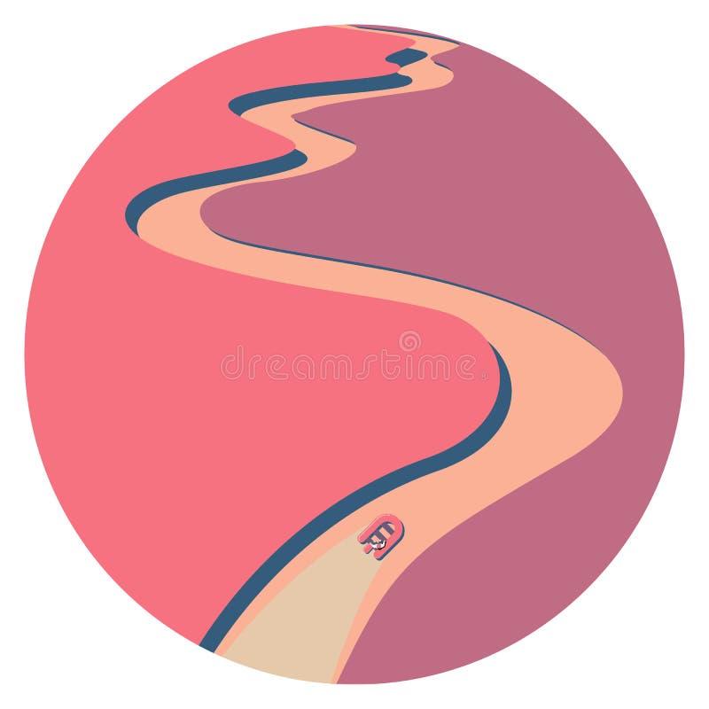 Podróż na nadmuchiwanej różowej gumowej łodzi ilustracja wektor