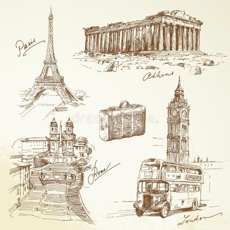 Podróż nad Europa ilustracja wektor