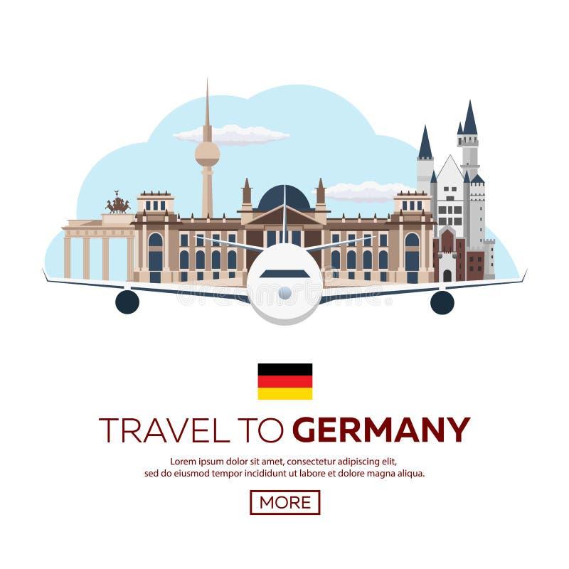 Podróż Niemcy, Berlińska Plakatowa linia horyzontu Reichstag, Brandenburg brama również zwrócić corel ilustracji wektora royalty ilustracja