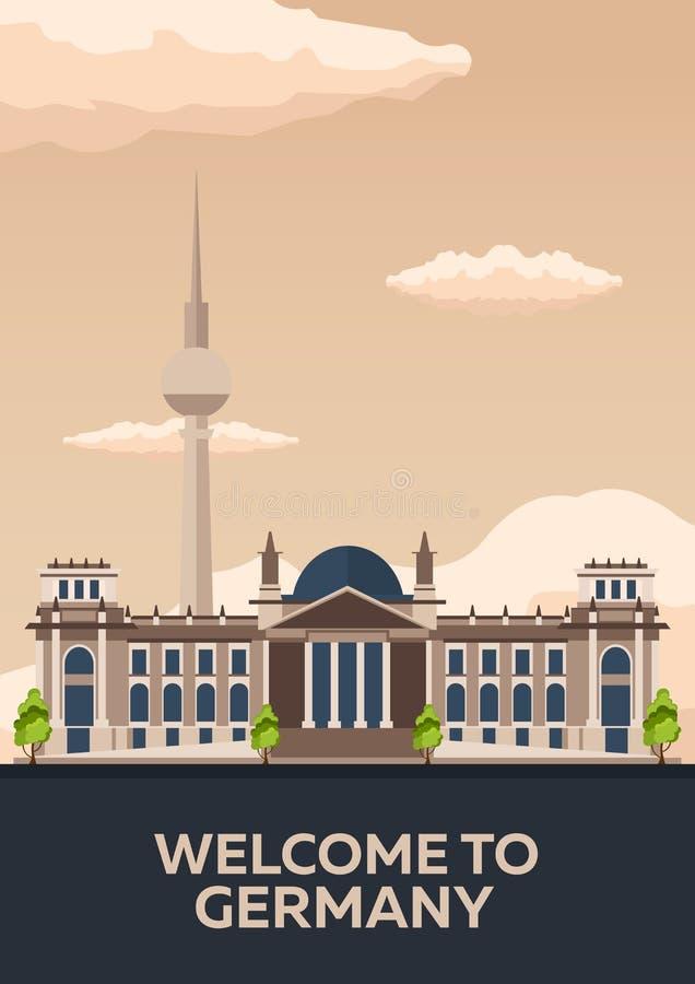 Podróż Niemcy, Berlińska Plakatowa linia horyzontu Reichstag również zwrócić corel ilustracji wektora ilustracja wektor