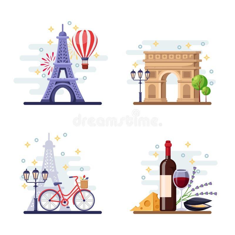 Podróż Paryska wektorowa płaska ilustracja Miasta symbole, punkty zwrotni i jedzenie, Francja ikony i projektów elementy royalty ilustracja
