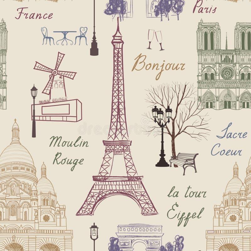 Podróż Paryski bezszwowy wzór Wakacje w Europa tapecie ilustracji