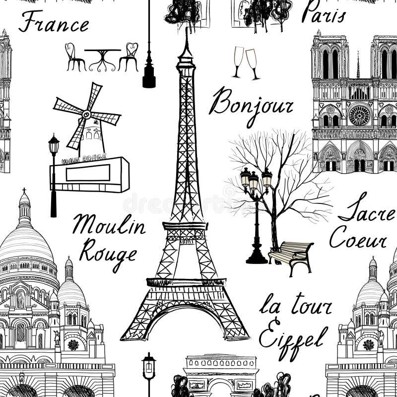 Podróż Paryski bezszwowy wzór Wakacje w Europa tapecie ilustracja wektor