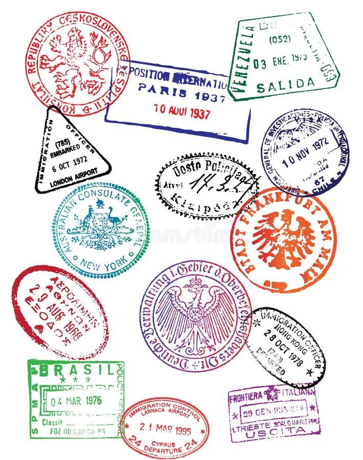 Podróż paszporta znaczki (wektor) ilustracji