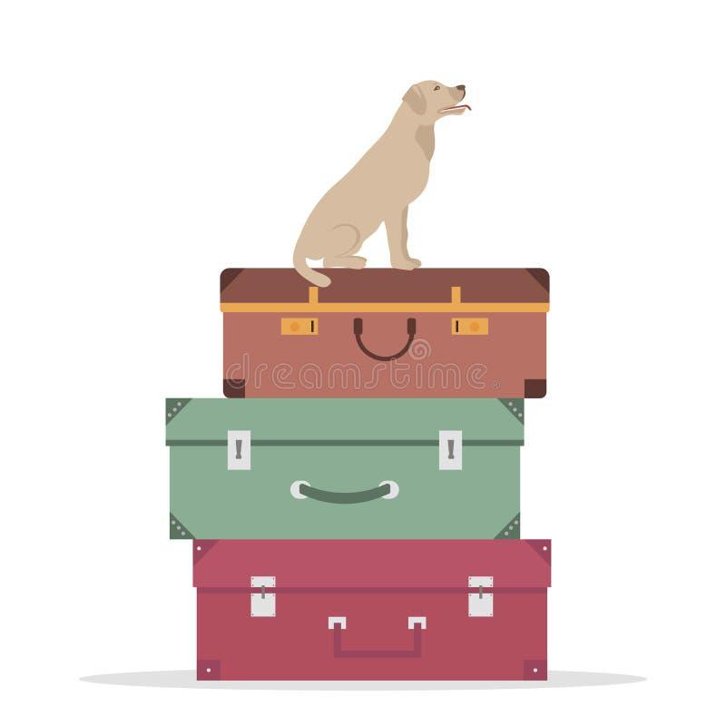 Podróż pies i bagaż ilustracji