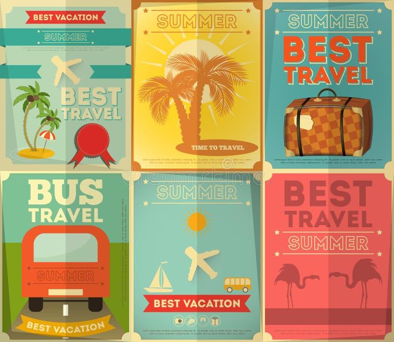 Podróż plakaty Ustawiający ilustracji