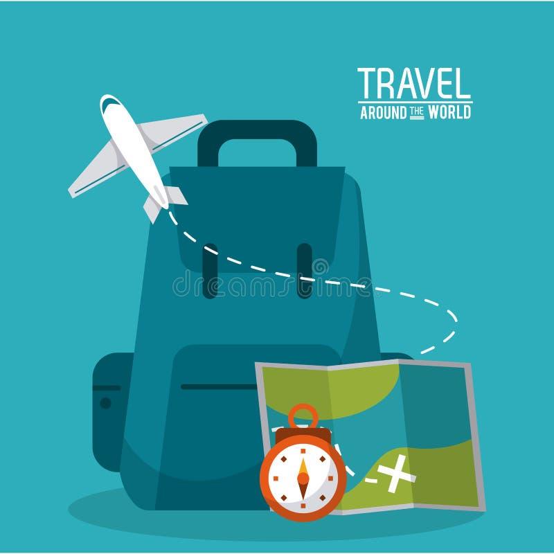 Podróż plecaka czasu mapy samolot dookoła świata ilustracja wektor