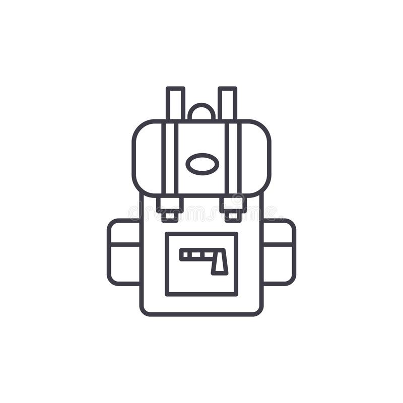 Podróż plecaka linii ikony pojęcie Podróżuje plecak wektorową liniową ilustrację, symbol, znak ilustracja wektor
