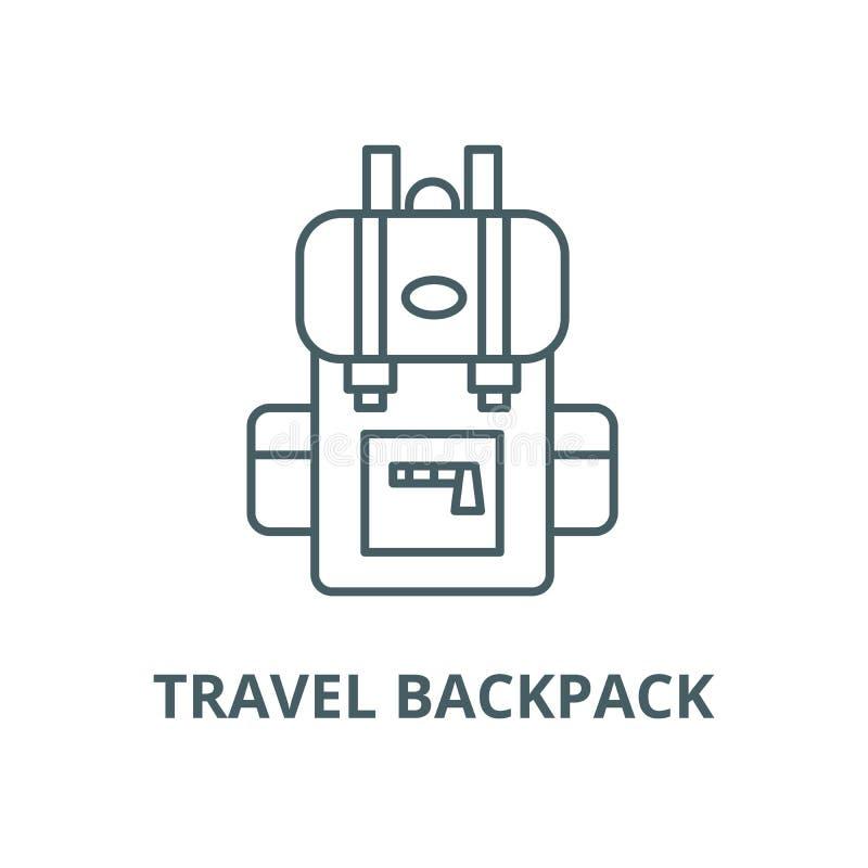 Podróż plecaka wektoru linii ikona, liniowy pojęcie, konturu znak, symbol royalty ilustracja