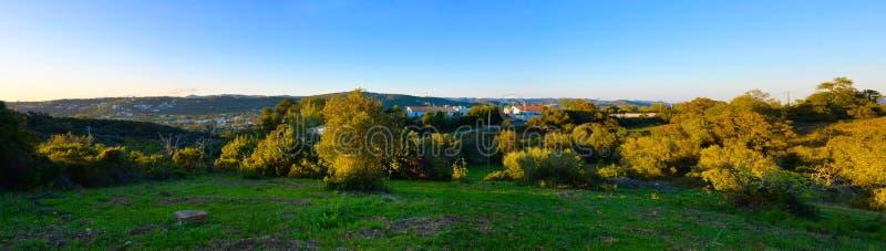 Podróż Południowy Portugalia, Faro góry i domy, kraju życie fotografia stock