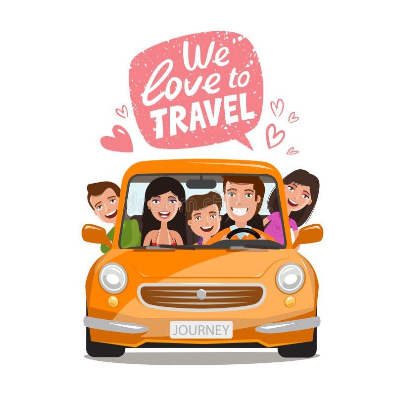 Podróż, podróży pojęcie Szczęśliwy rodzinny podróżować samochodem obcy kreskówki kota ucieczek ilustraci dachu wektor royalty ilustracja