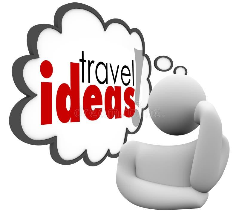 Podróż pomysłów myśliciela myśli chmury Brainstorming wakacje plan ilustracji