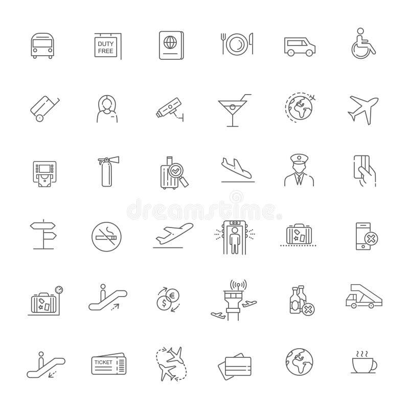 Podróż Powietrzna lub Lotniskowe usługa zarysowywamy ikonę ustawiającą - ilustracja ilustracji