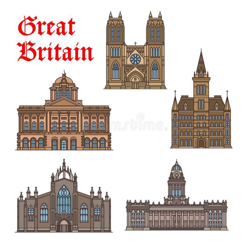 Podróż punkt zwrotny Wielki Brytania ikony set ilustracja wektor