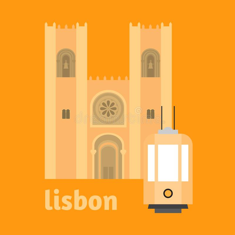Podróż punktu zwrotnego Portugalia elementy Płaska architektury i budynku ikon katedra Lisbon Krajowy portuguese symbol royalty ilustracja