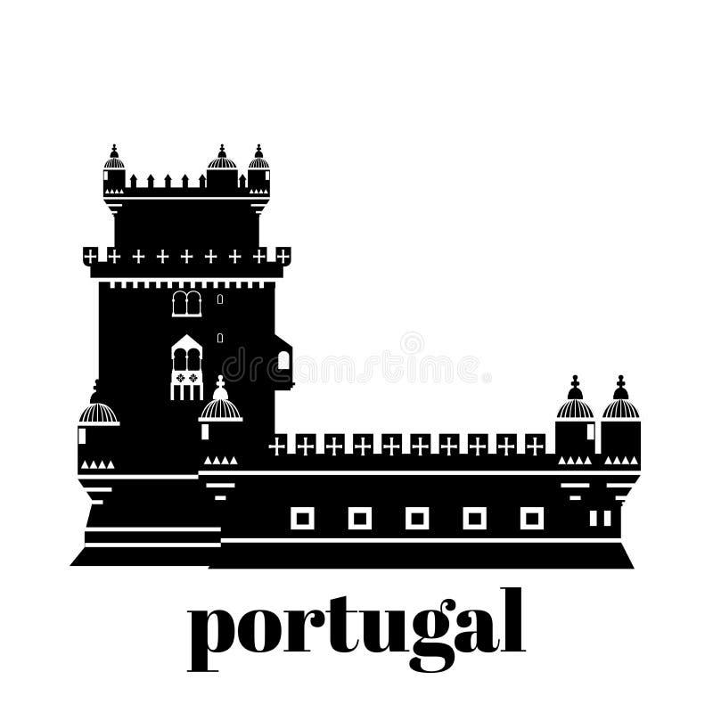 Podróż punktu zwrotnego Portugalia elementy Płaskie architektury i budynku ikony Basztowy Belem Krajowy portuguese symbol ilustracja wektor