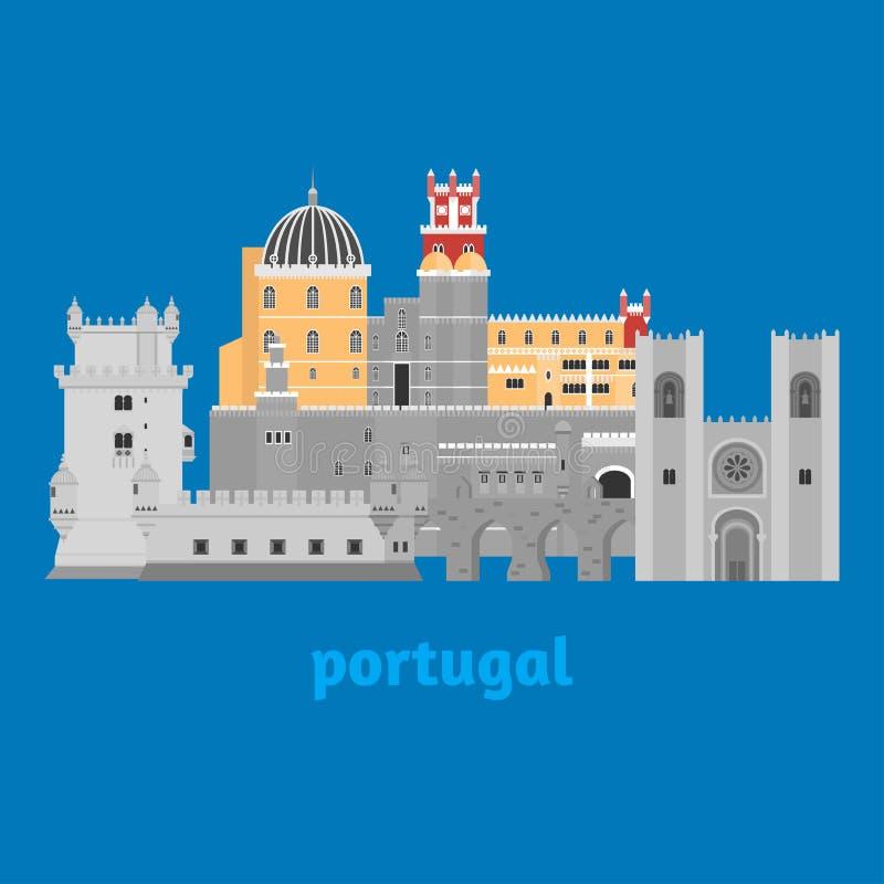 Podróż punktu zwrotnego Portugalia elementy Płaskie architektury i budynku ikony Basztowy Belem, Sintra Pena grodowy pałac, akwed royalty ilustracja