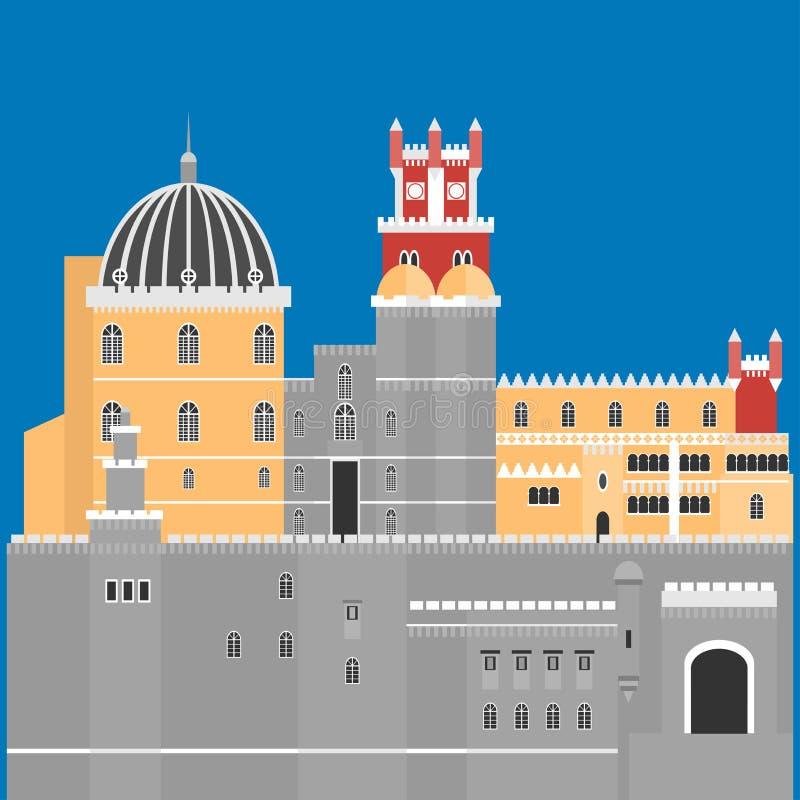 Podróż punktu zwrotnego Portugalia elementy Płaskie architektury i budynku ikony Sintra roszują Pena pałac, Krajowy portuguese sy royalty ilustracja