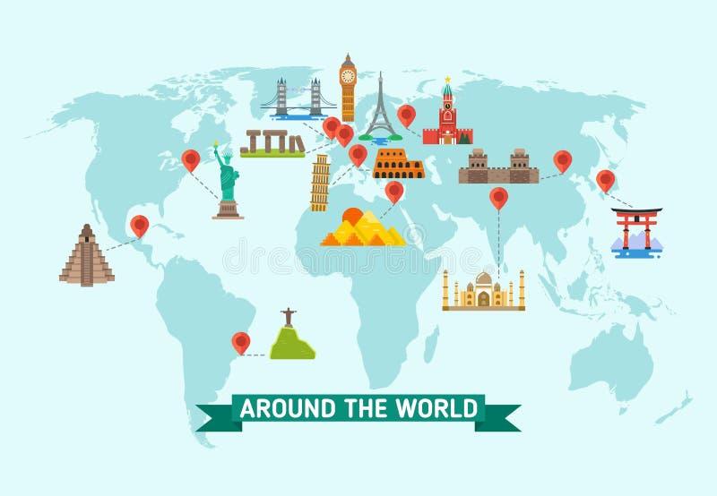 Podróż punkty zwrotni na światowej mapy wektoru ilustraci ilustracja wektor