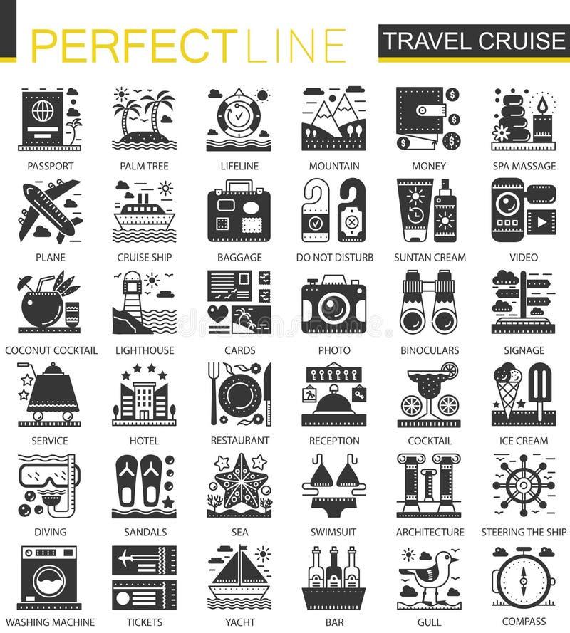 Podróż rejsu wakacje czerni pojęcia mini ikony i infographic symbole ustawiający ilustracja wektor