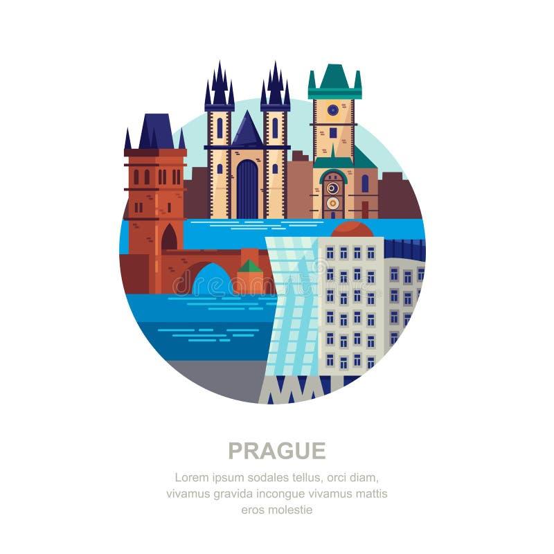 Podróż republika czech mieszkania ilustracja Praga miasta symbole i turystyczni punkty zwrotni Miasto budynku ikony ilustracji
