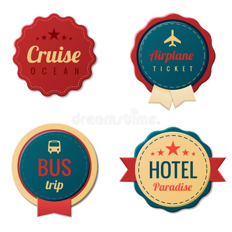 Podróż rocznik Przylepia etykietkę szablon kolekcję. Turystyka royalty ilustracja