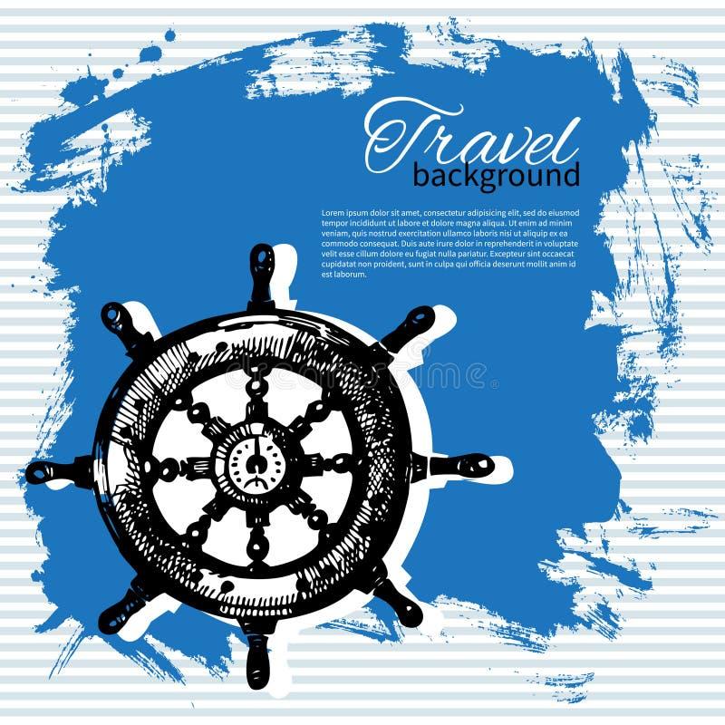 Podróż rocznika tło Denny nautyczny projekt ilustracji