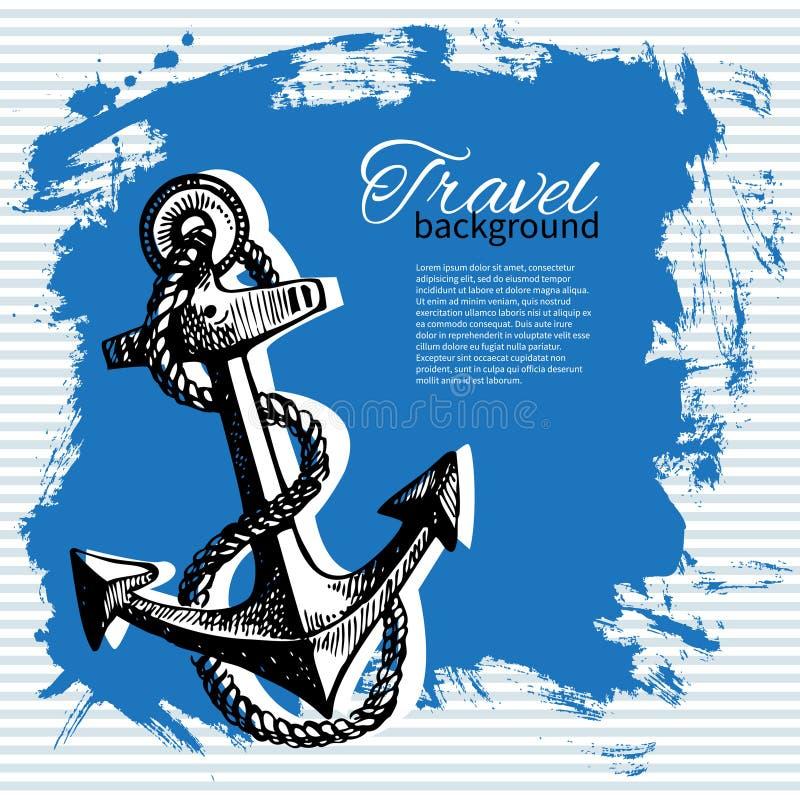 Podróż rocznika tło Denny nautyczny projekt royalty ilustracja