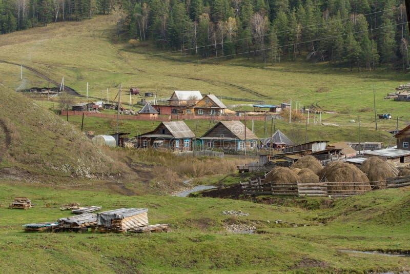 Podróż Rosyjska wioska Typowy pojawienie nowożytna wioska w Altai górach fotografia stock