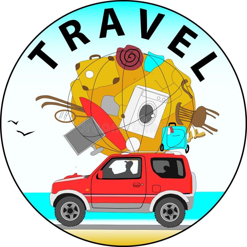 Podróż samochodem morze ilustracja wektor