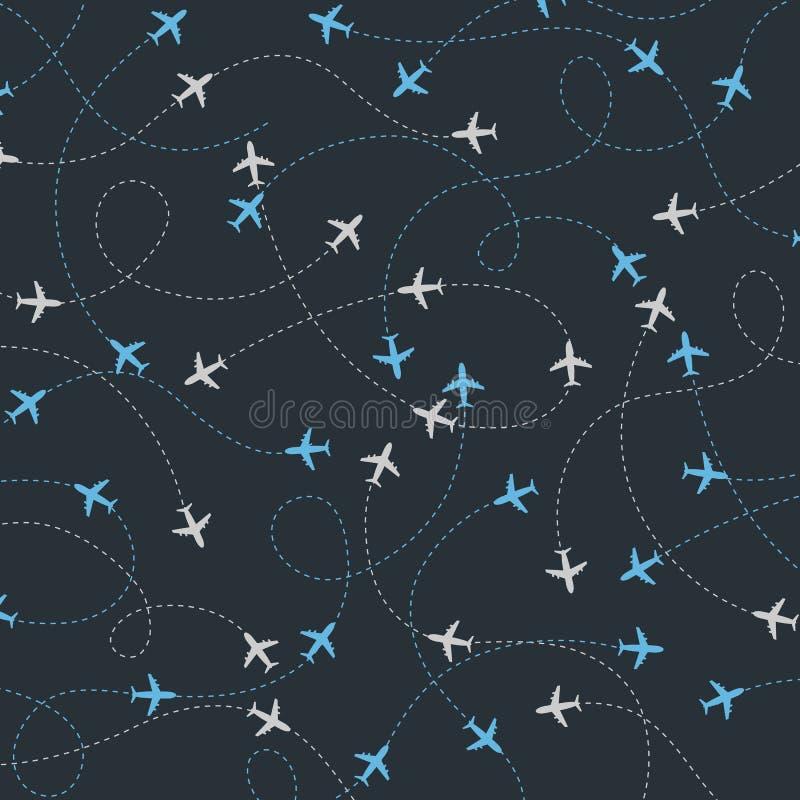 Podróż samolot dookoła świata wysyła bezszwowego wzór ilustracja wektor