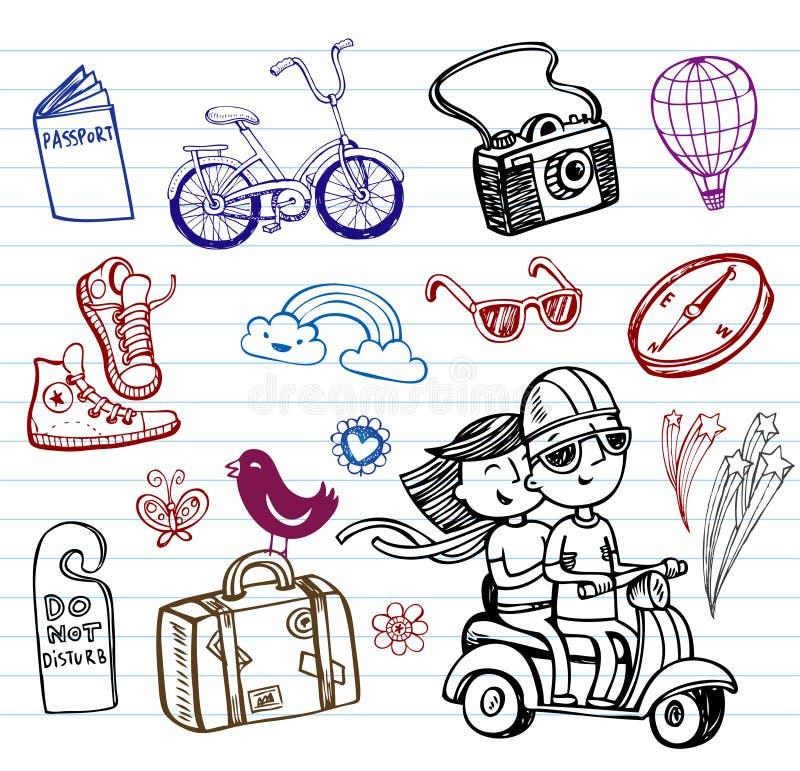 Podróż, set ostrzy doodles ilustracja wektor