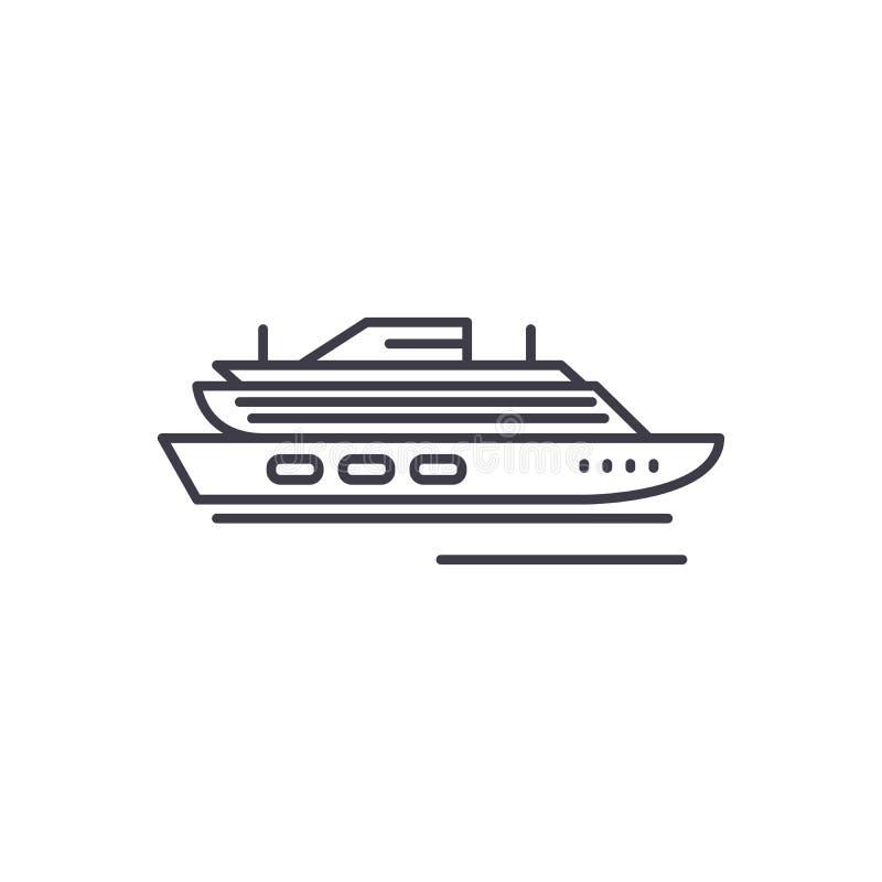 Podróż statku wycieczkowego linii ikony pojęcie Podróżuje statek wycieczkowy wektorową liniową ilustrację, symbol, znak ilustracji