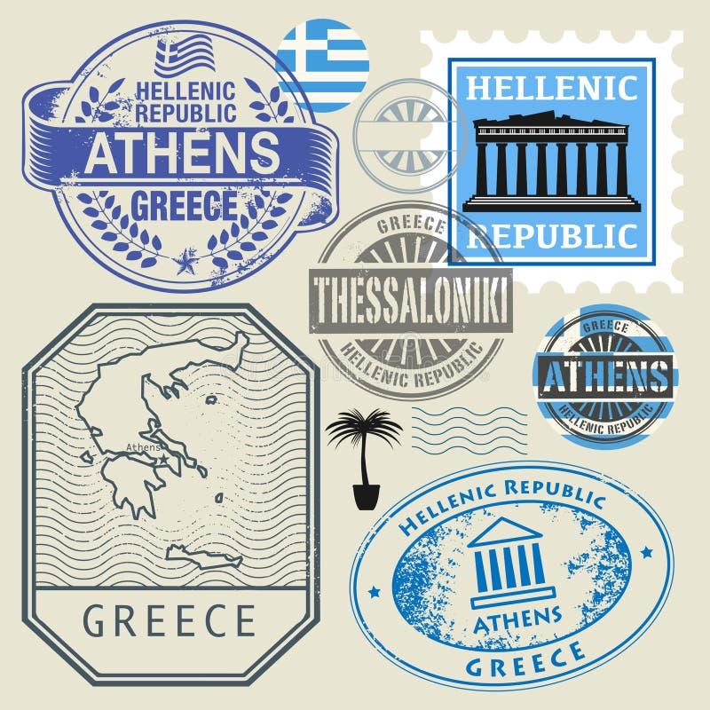 Podróż symbole lub znaczki ustawiają, Grecja temat royalty ilustracja