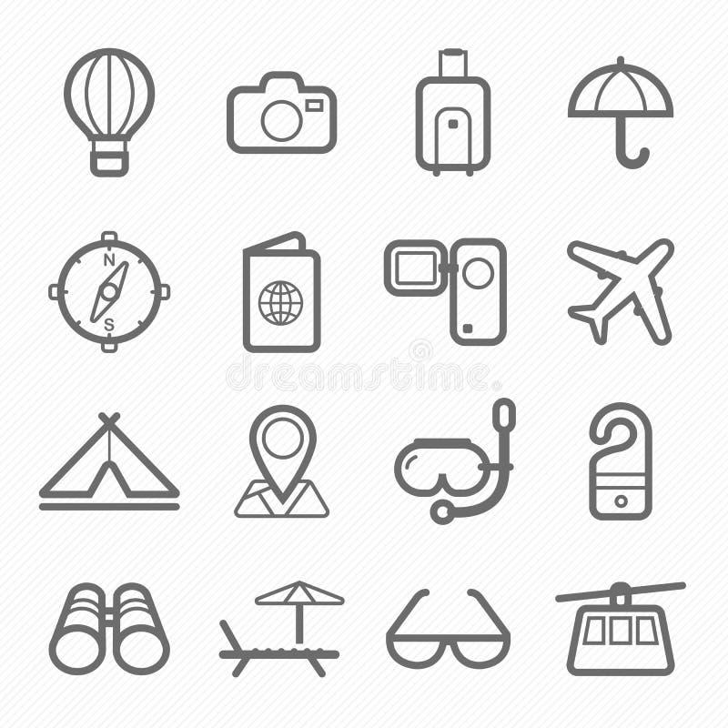Podróż symbolu linii ikony set royalty ilustracja
