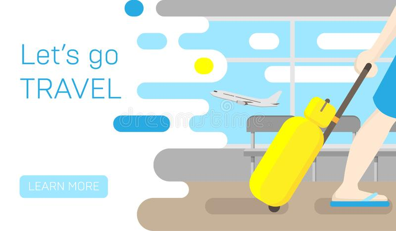 Podróż sztandar journeyer Podróżna płaska ilustracja wakacje royalty ilustracja
