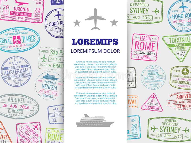 Podróż sztandar z grunge paszportem stempluje tło ilustracja wektor
