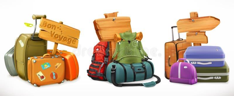 Podróż Torba, plecak, walizka i drewniany znak, royalty ilustracja